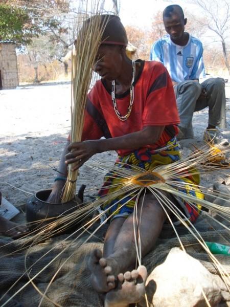 Khwe Bushman basket maker